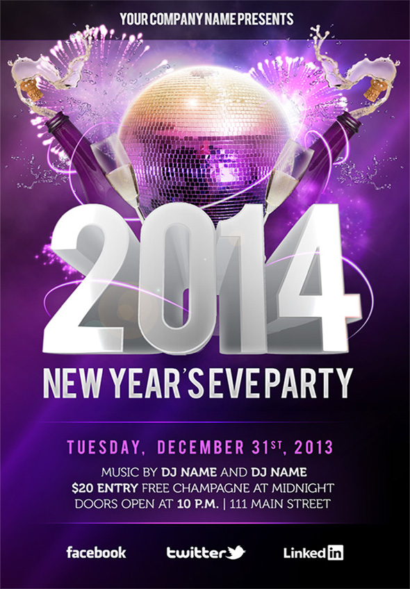 15 New Year Eve Flyer PSD Templates Images