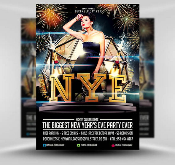 New Year's Eve Party Flyer Template Free