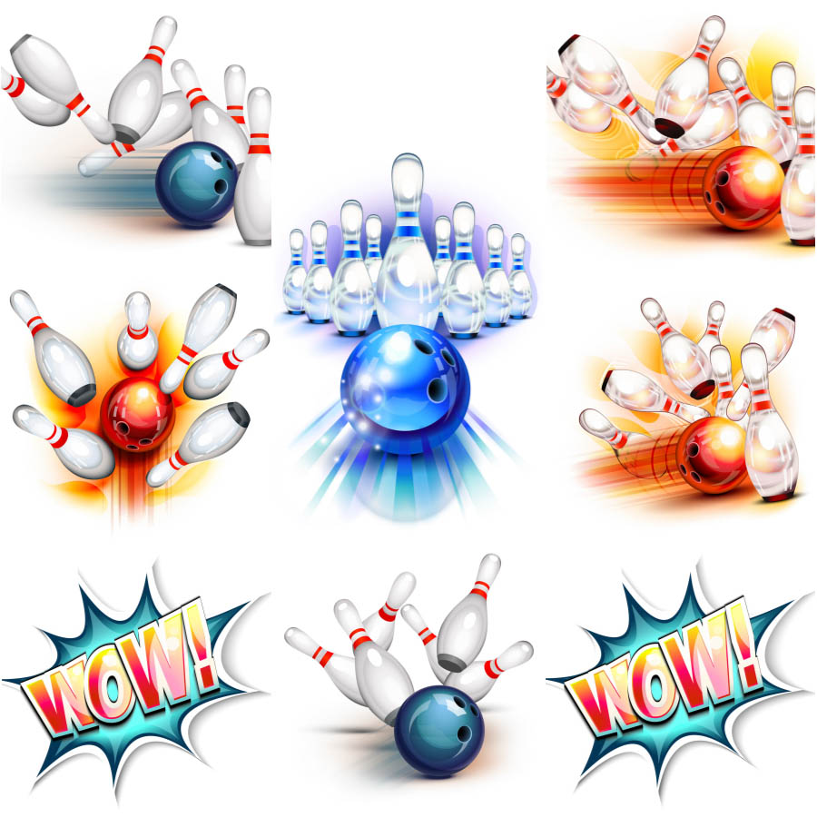 Vector Bowling Ball Knocking Down Pins