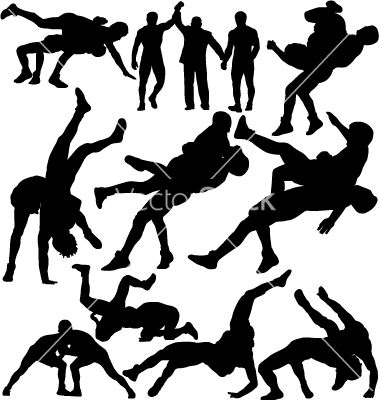 14 Wrestling Silhouette Vector Free Images