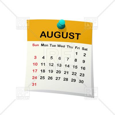 2014 August Calendar Clip Art