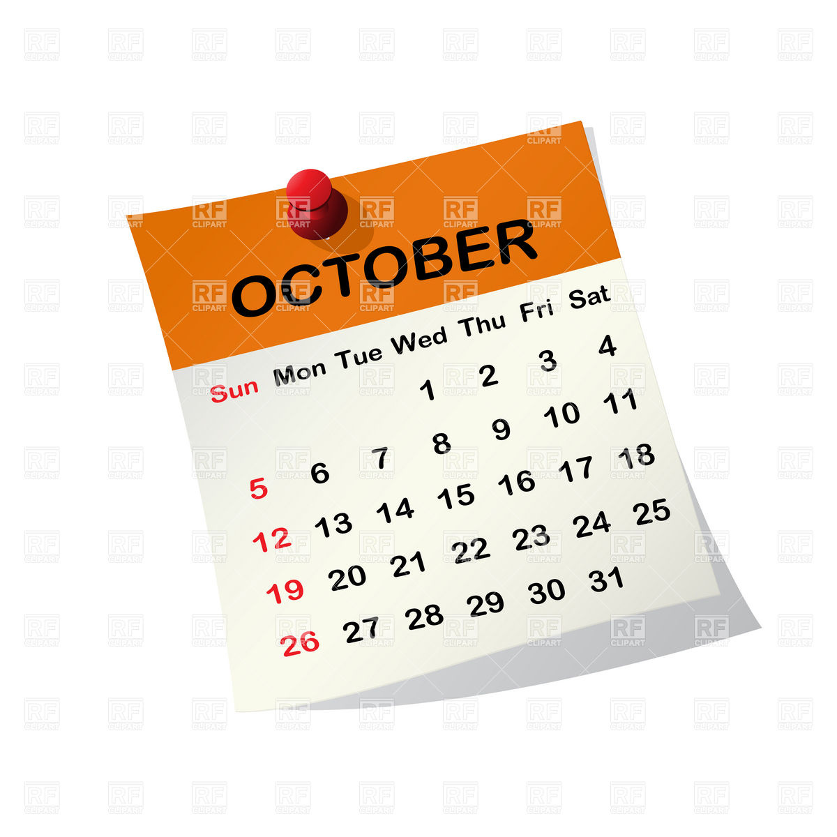 2014 October Calendar Clip Art