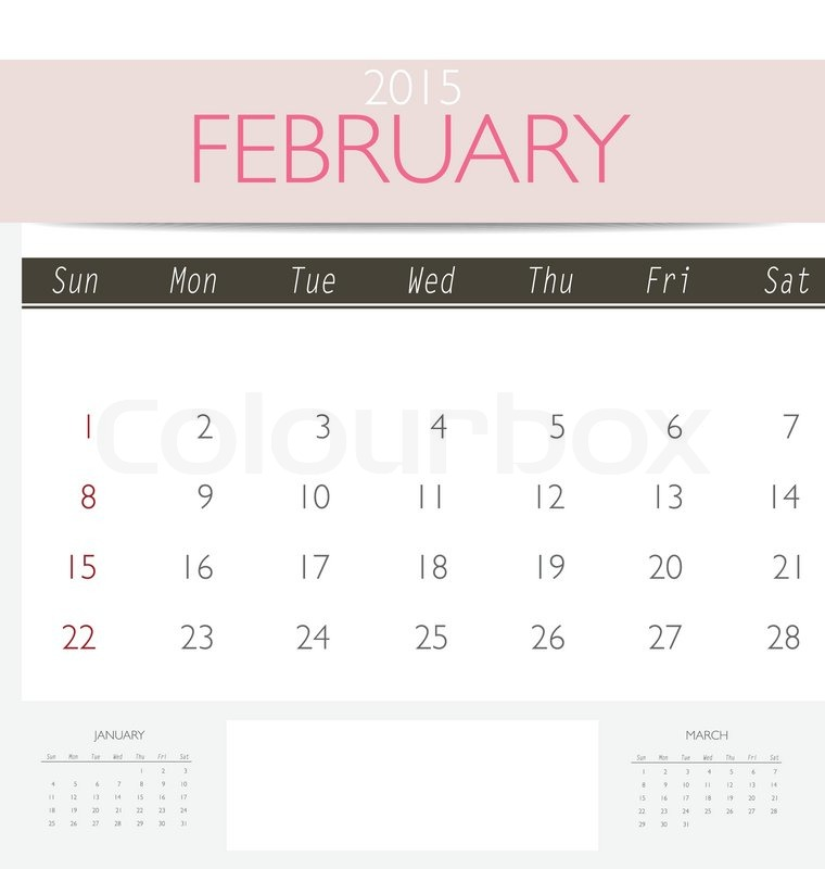 2015 Monthly Calendar Template