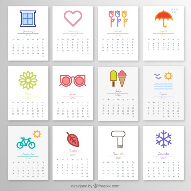 2016 Monthly Calendar Free Download