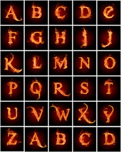 how to draw letters on fire