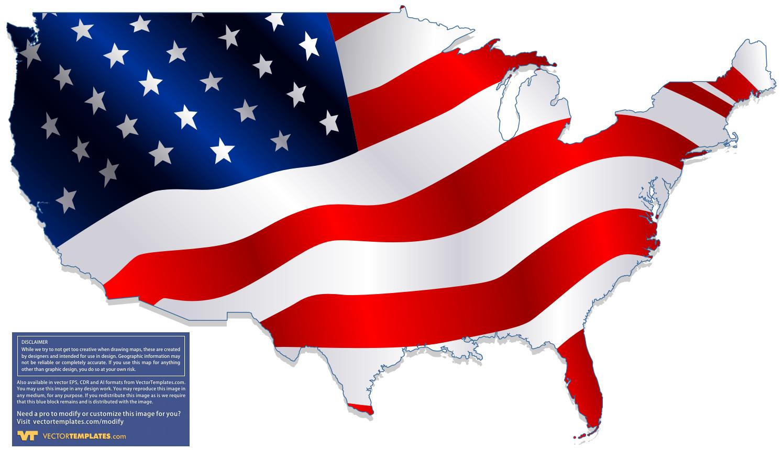 American Flag USA Map