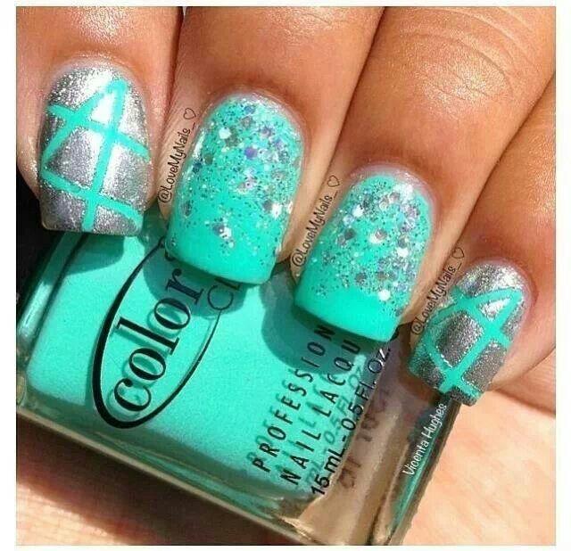 Aqua and Silver Nails