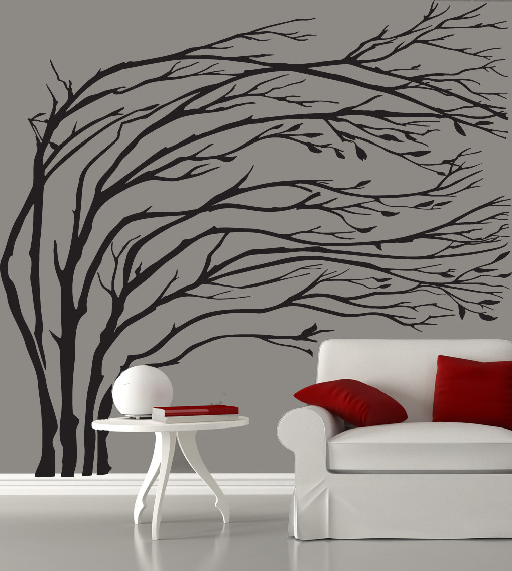 Black Blowing Tree Wall Decal
