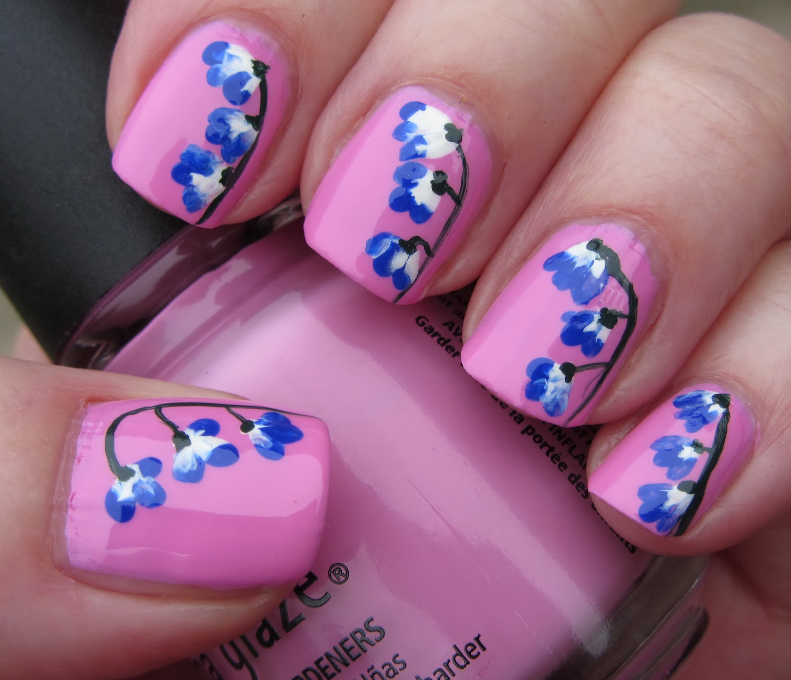 Blue and Pink Nail Art Flowers