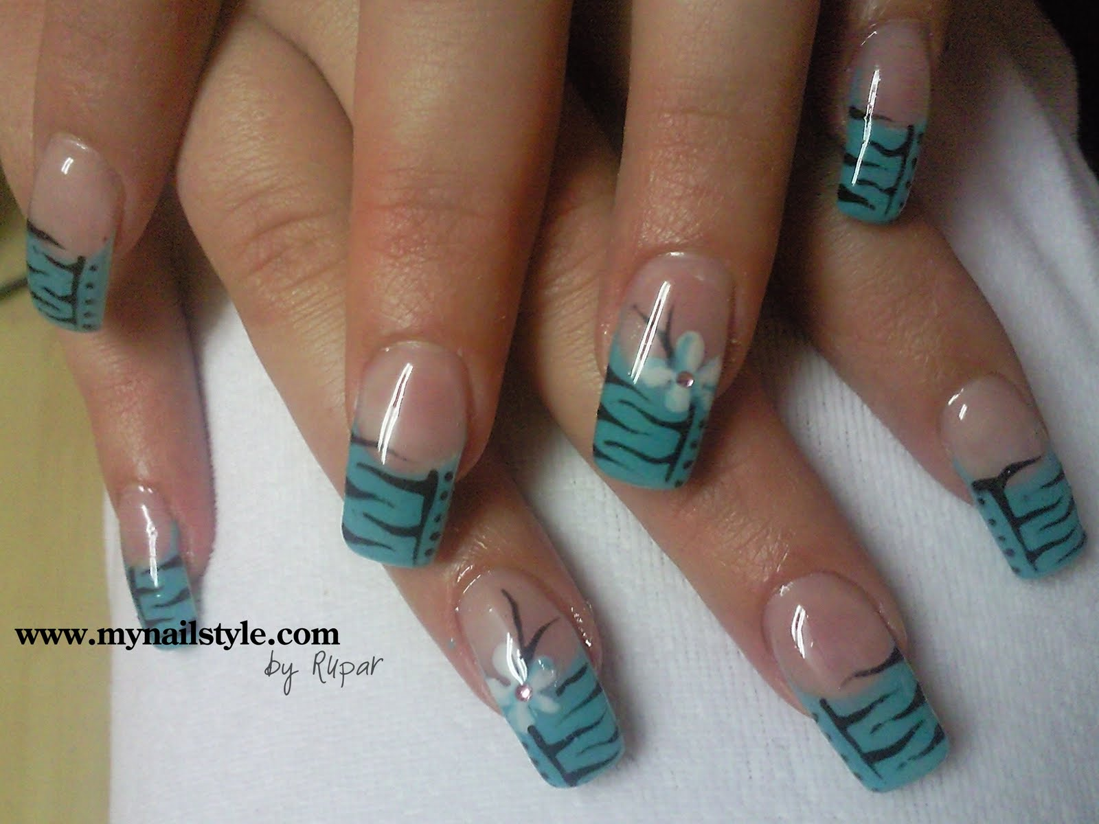 11 Blue Flower Nail Designs Images