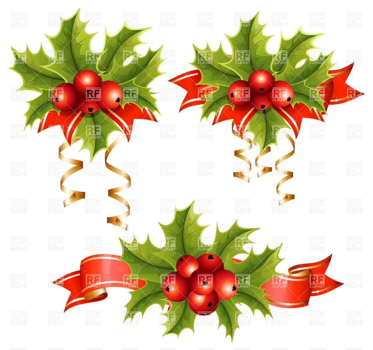 16 Christmas Holly Clip Art Vector Images - Free Christmas ...