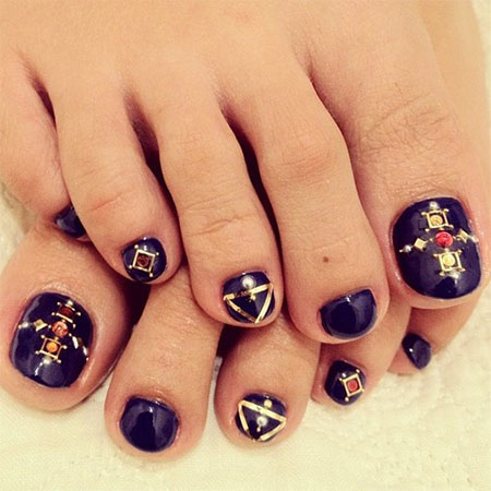 14 Cute Easy Toe Nail Art Designs Images