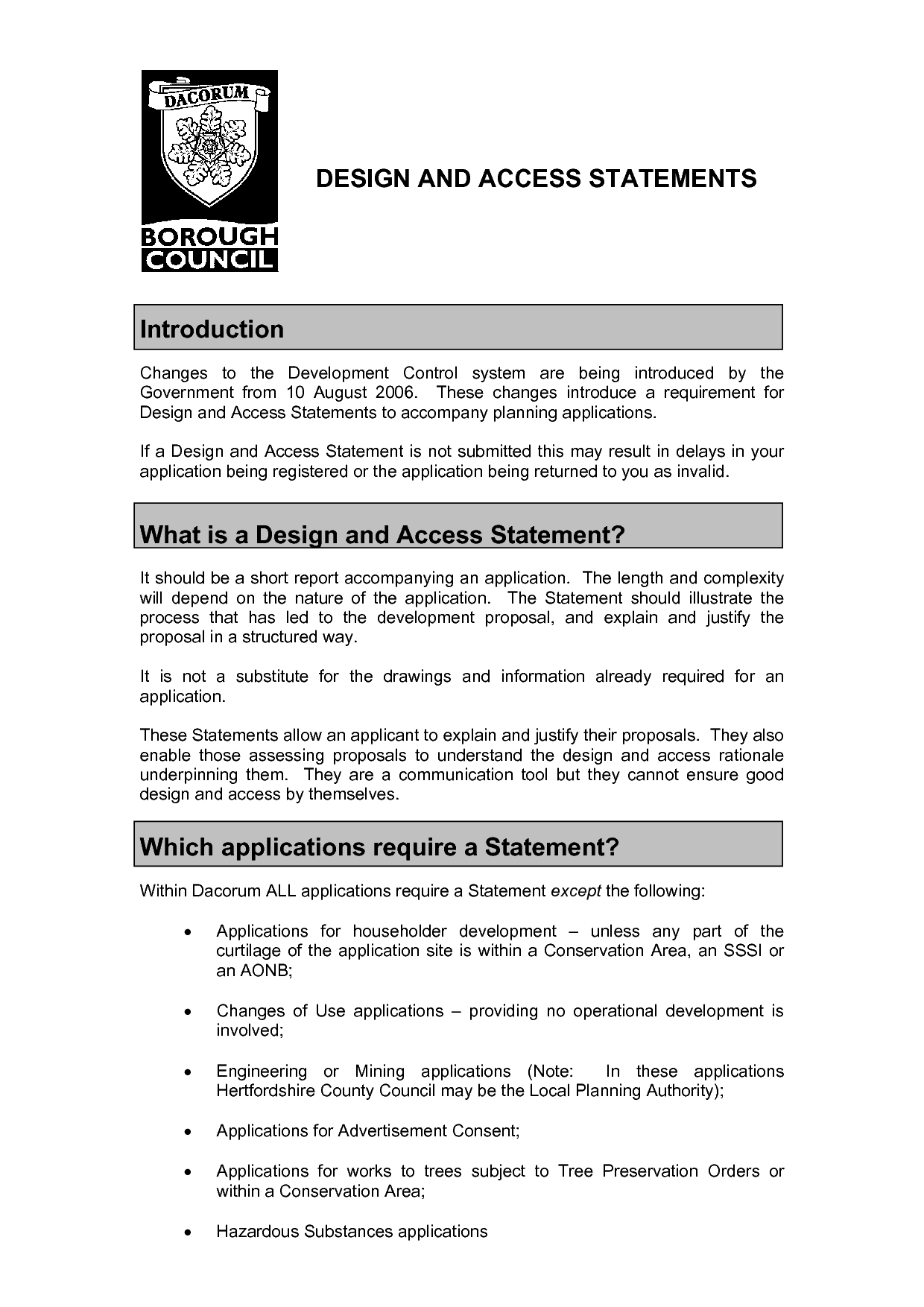 Design and Access Statement Example