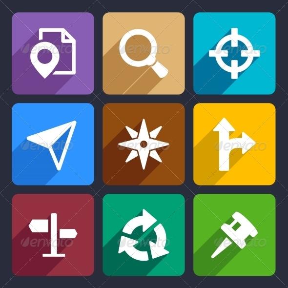12 Flat Icon GPS Images
