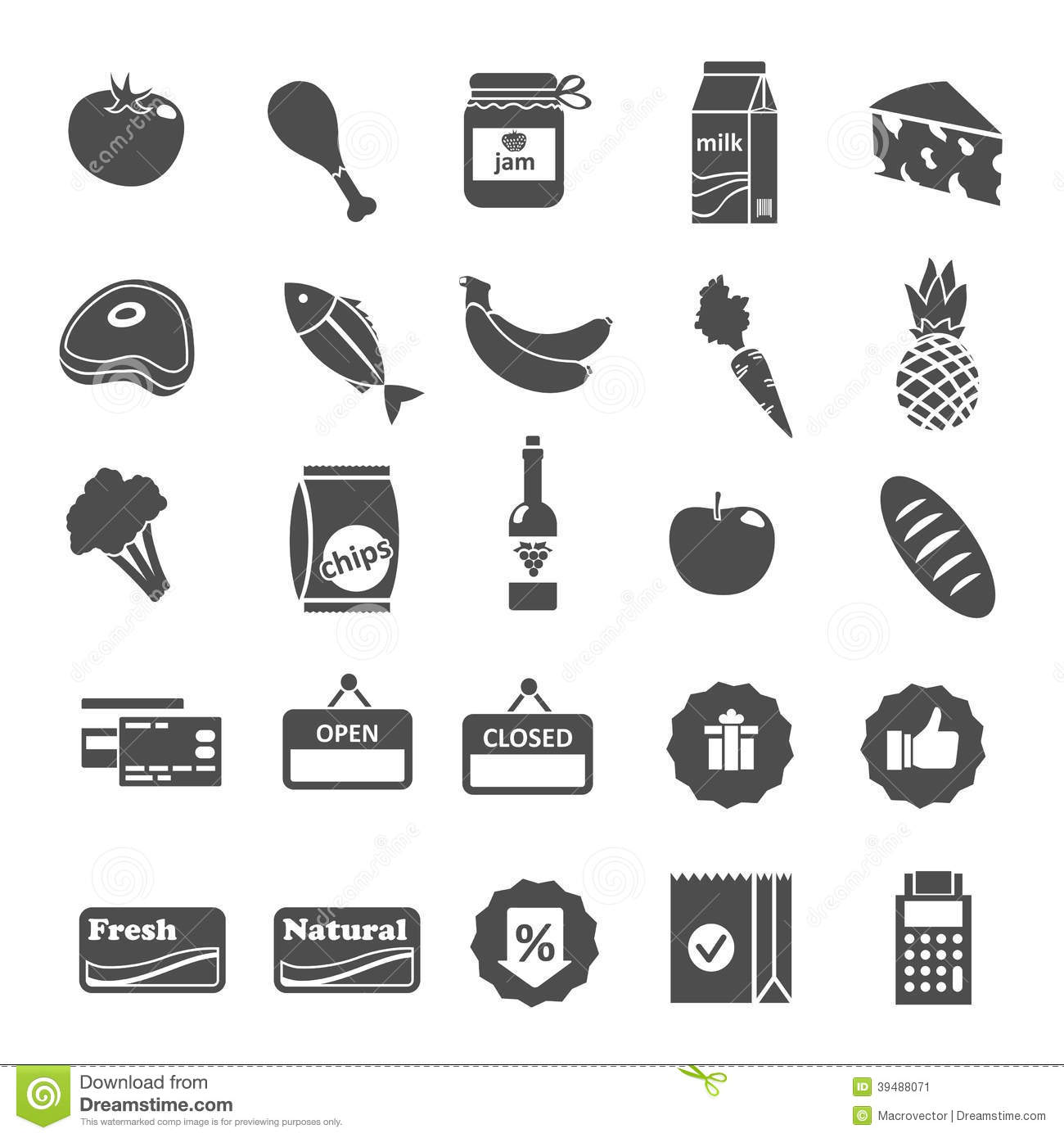 18 Grocery Products Icon Images - Food and Chemical ...