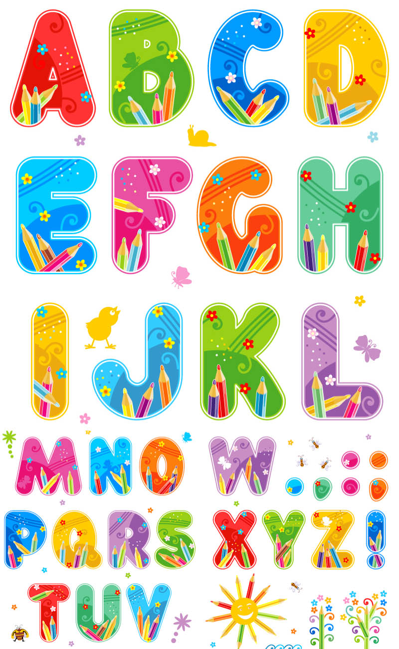 19 Alphabet Letters Vector Images