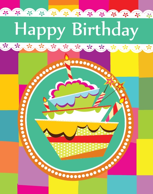 Free Card Happy Birthday Cake