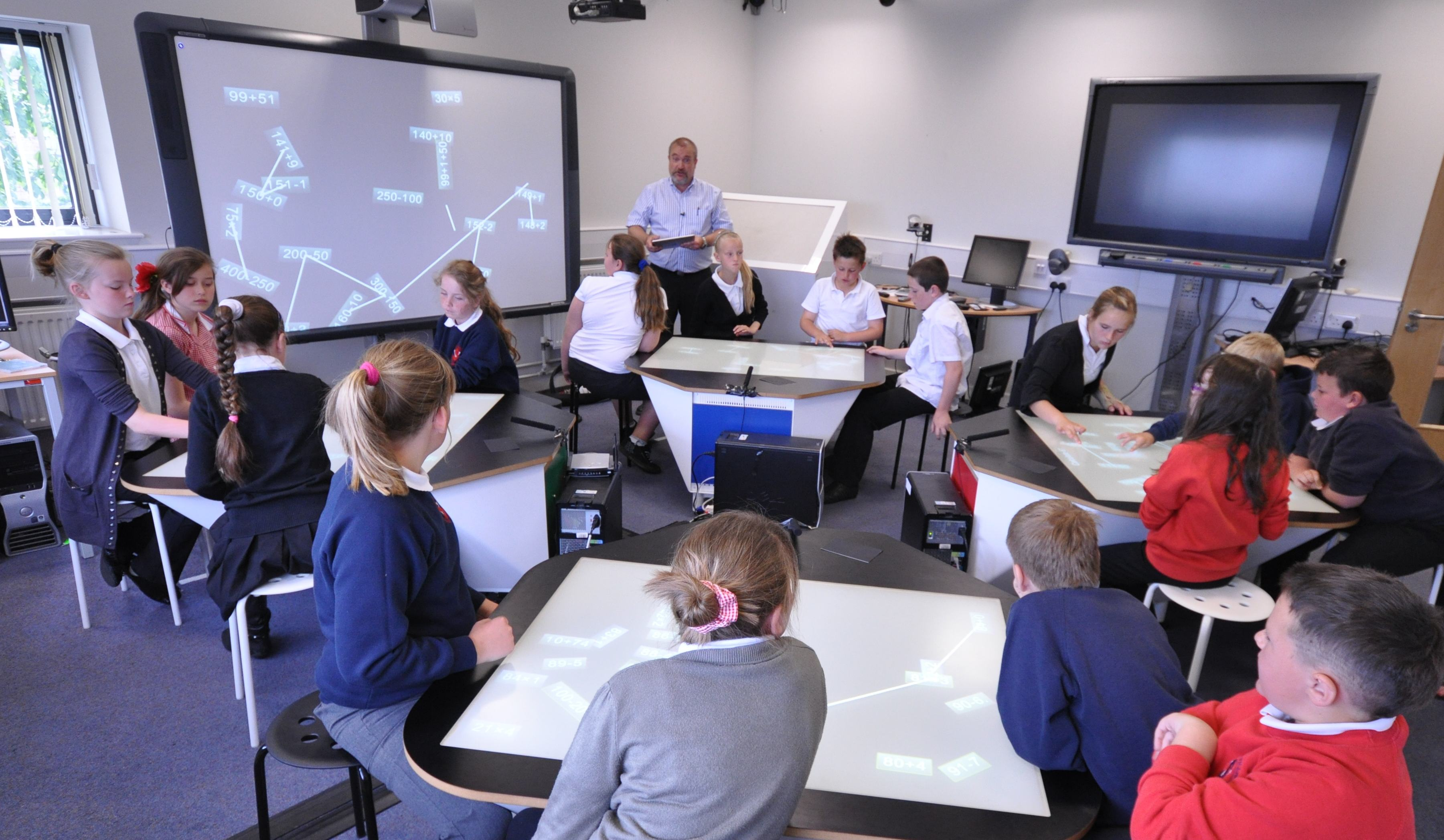 classroom future classrooms technology tech education multi touch desk learning desks tables multitouch elementary room collaboration students interaction waack higher