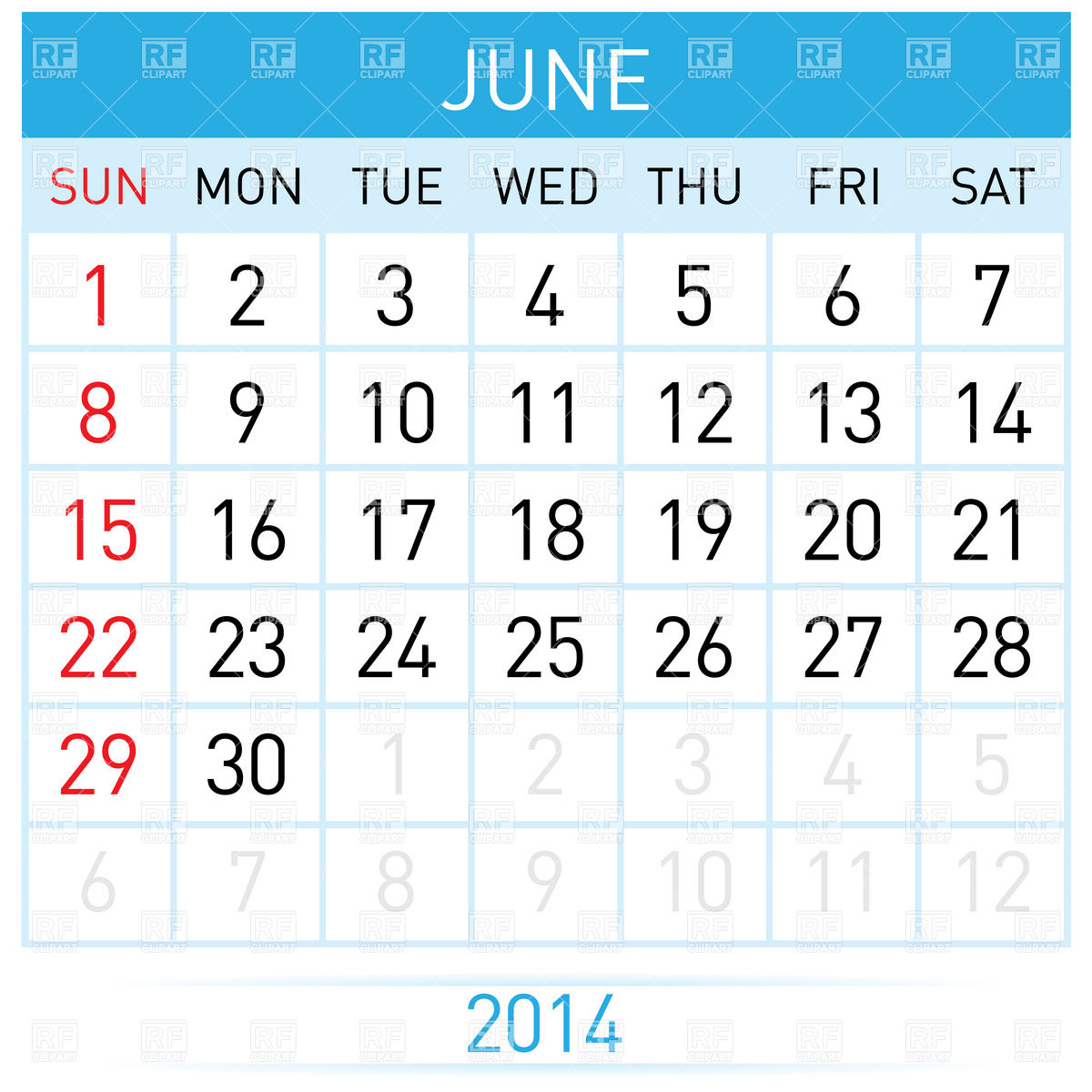 June Calendar Month Clip Art Free
