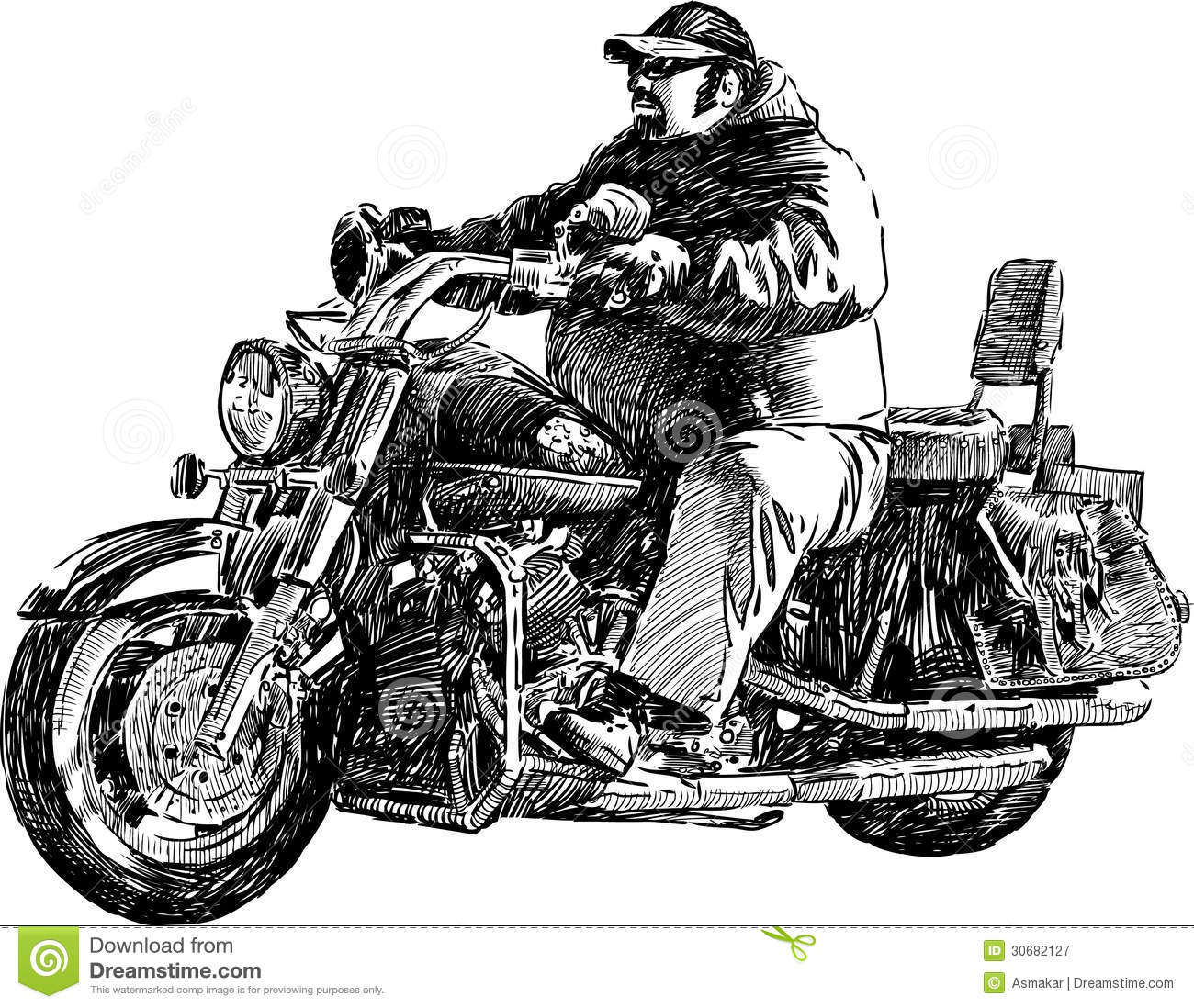 Man Riding Motorcycle Drawing