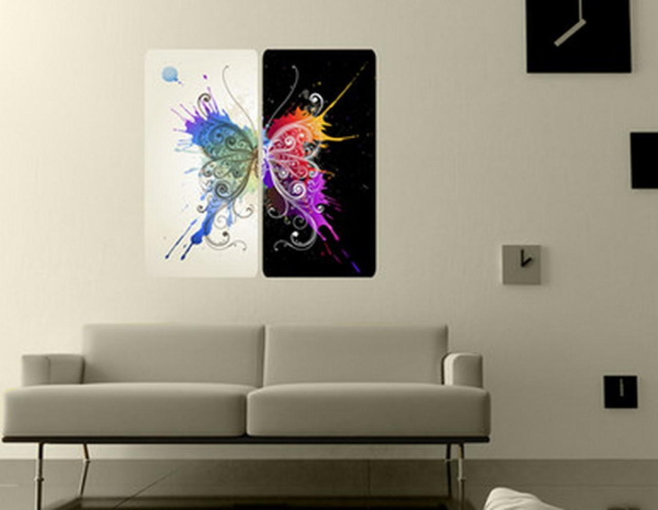 Modern wall paintings living room for Contemporary living room art