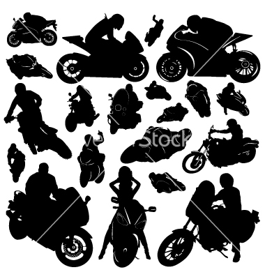 Motorcycle Riders Silhouette Vector Free