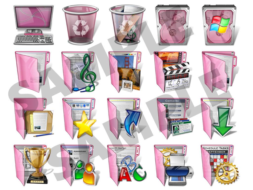 Pink Desktop Icons