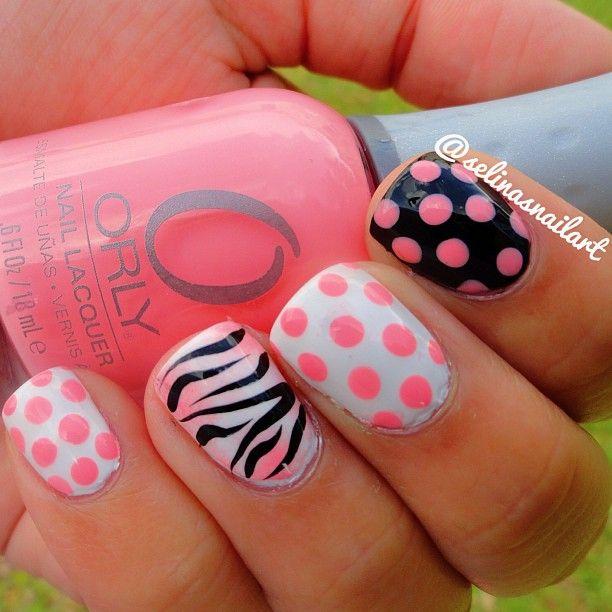 Polka Dot and Zebra Print Nails