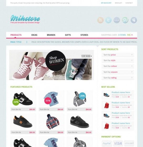 PSD Website Template Shopping