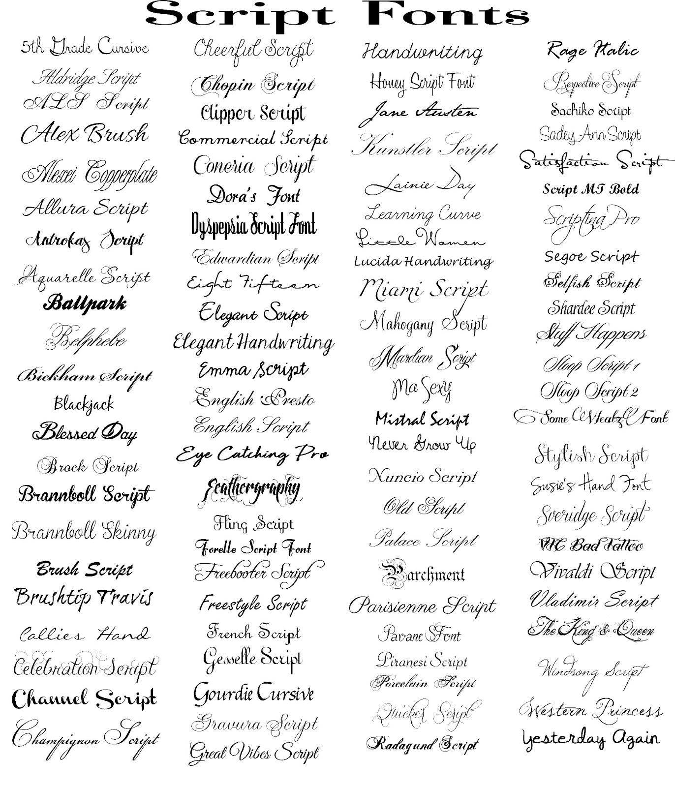 Script Fonts Word