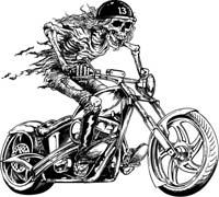 Skeleton Motorcycle Rider Clip Art