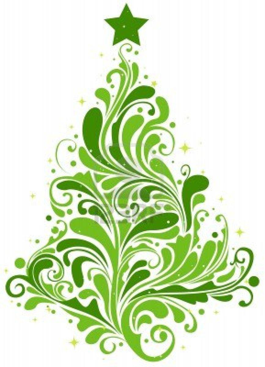 Swirl Christmas Tree Clip Art