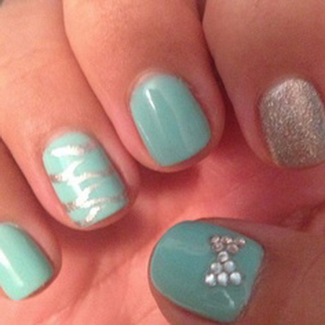 Teal and Silver Nail Designs