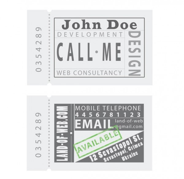 Ticket Business Card Template