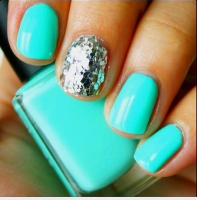 Tiffany Blue and Silver Glitter Nails