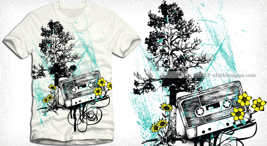 13 Music T-Shirt Designs Vector Images
