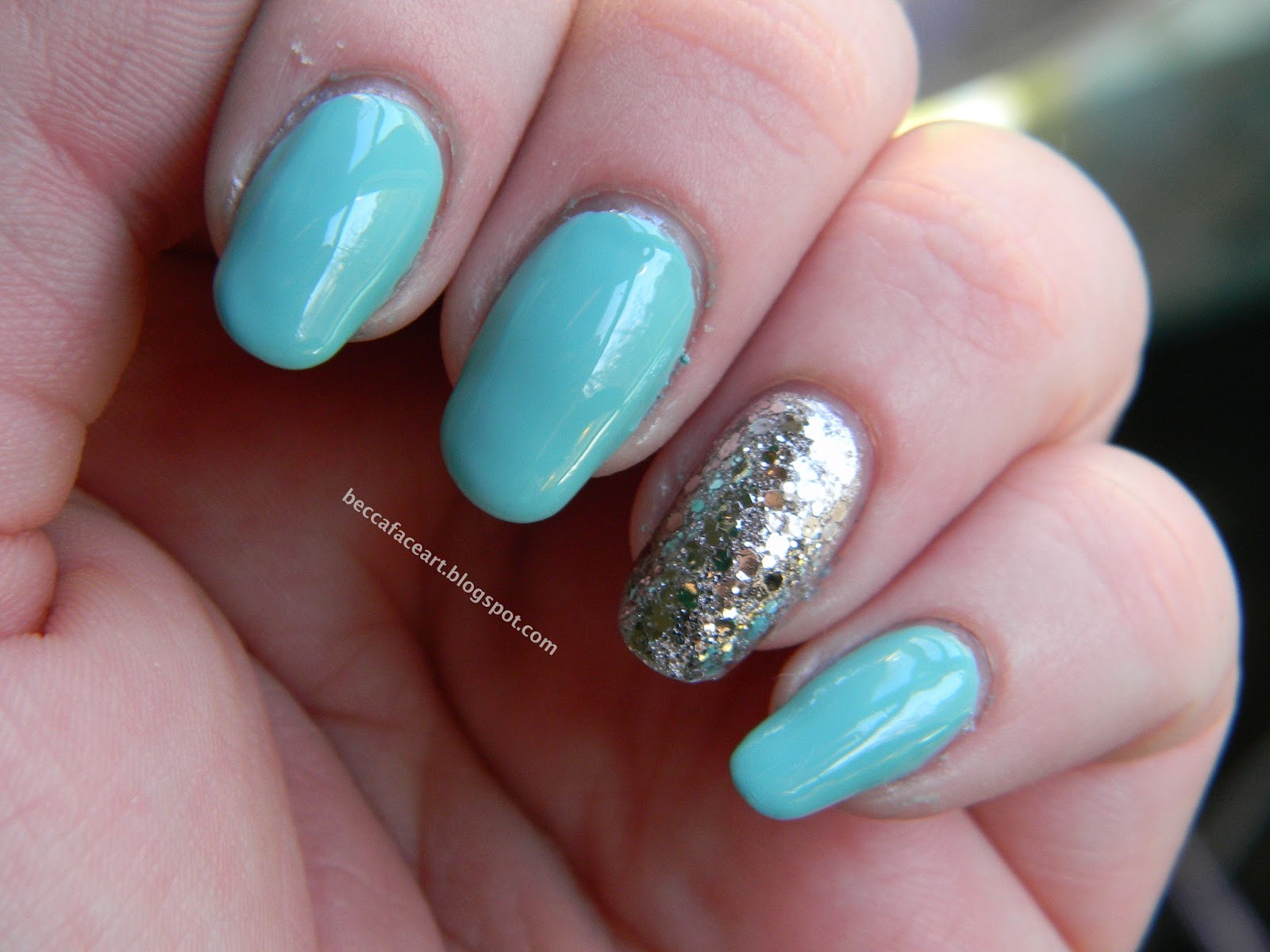 Turquoise and Silver Nail Art
