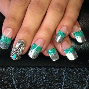 Turquoise and Silver Nail Design