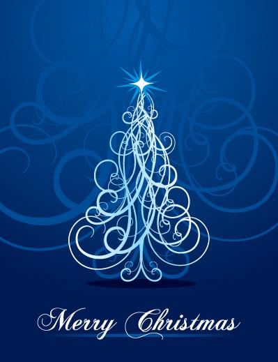 Vector Swirly Christmas Tree