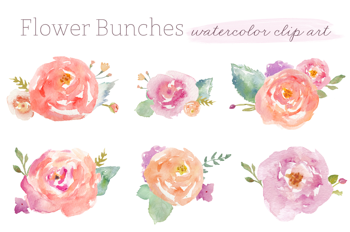 12 Graphic Watercolor Floral Images