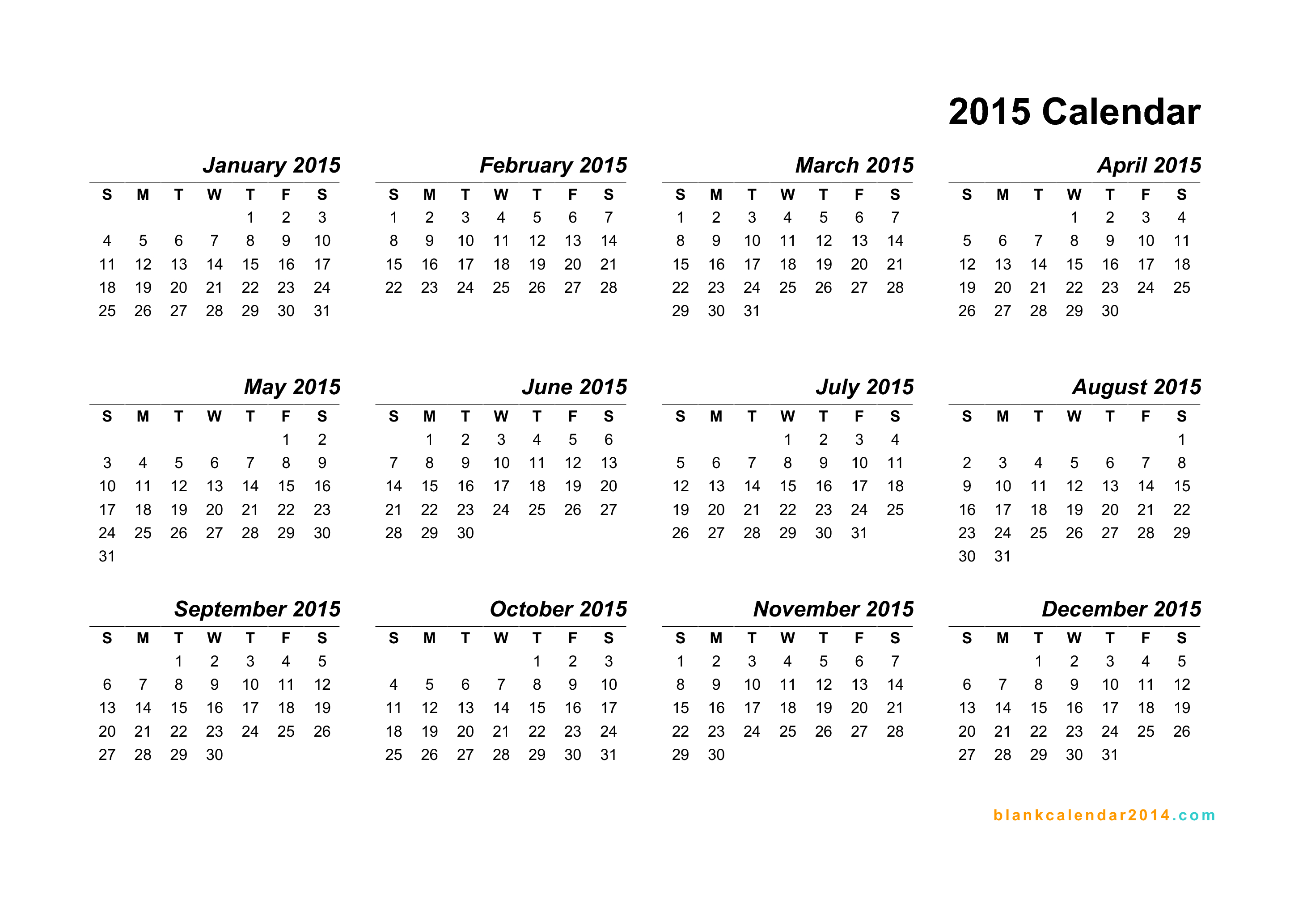 printable 2015 year calendar