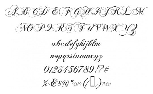 Beautiful Script Fonts Alphabet