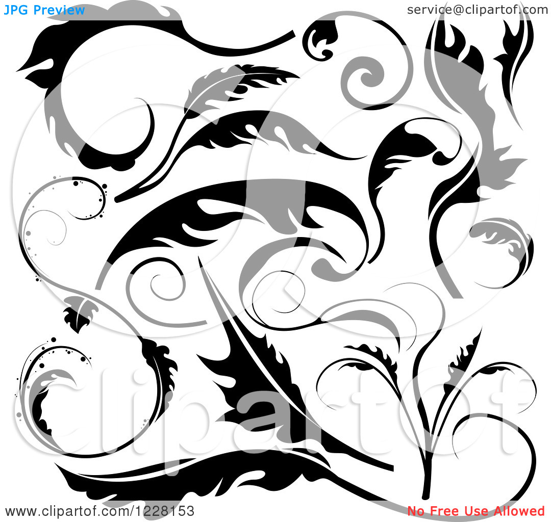 Black and White Scroll Designs Free