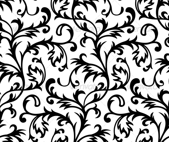 Black and White Scroll Pattern