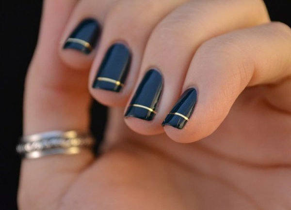 Black Nails with Gold Line