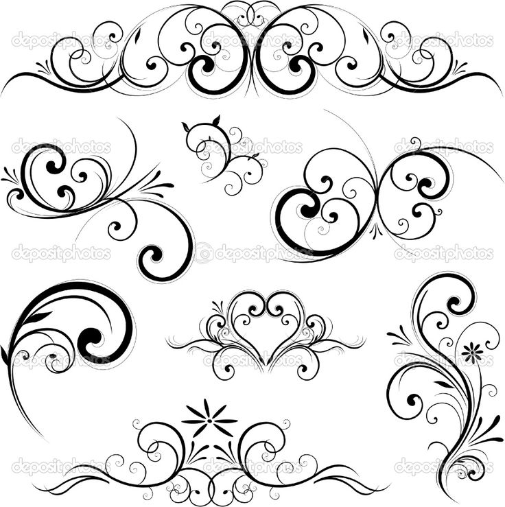 Blue Scroll Design Clip Art