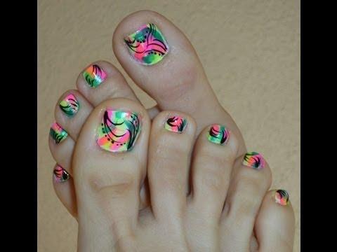 Bright Neon Color Toe Nail Designs