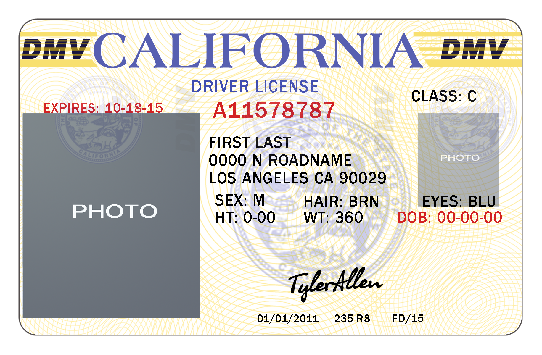 texas temporary drivers license template - 10 california drivers id template psd images california
