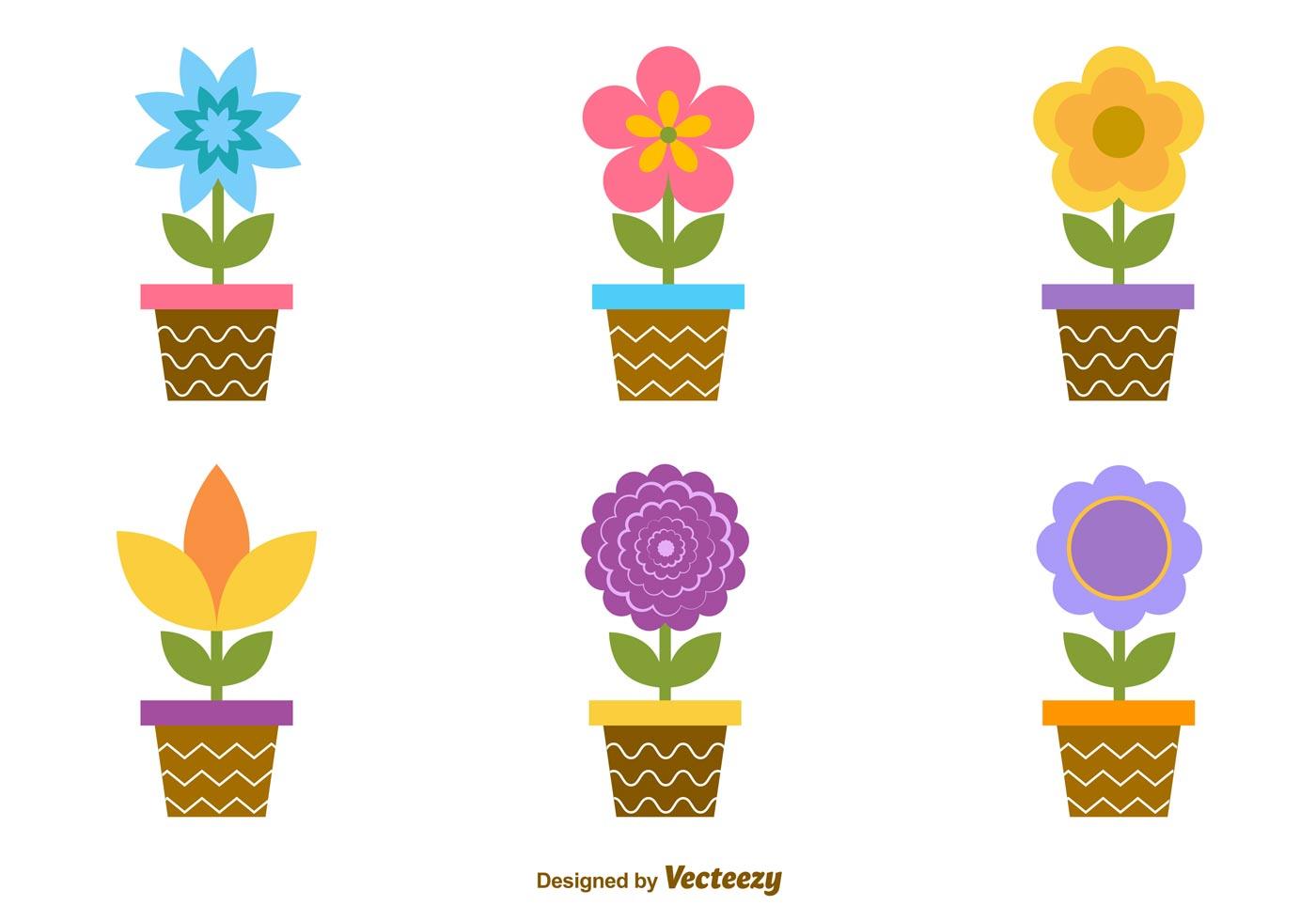 19 Vector Cartoon Flowers Pot Images - Flower Pot Vector