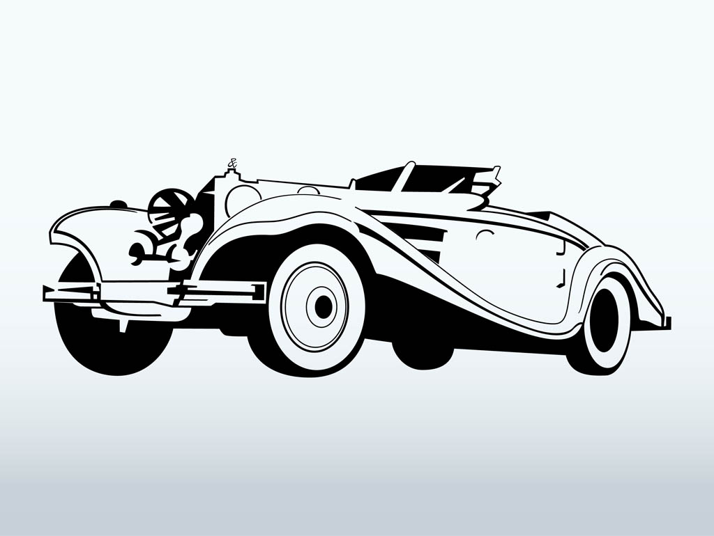 9 Classic Cars Vector Clip Art Images